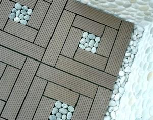 WPC Garden Tiles with grey pebble Click Garden Tiles DIY